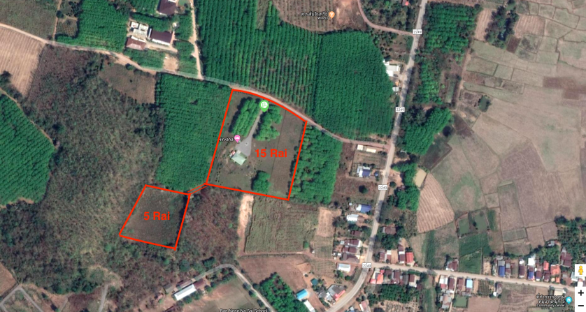 satellite view showing square parcel for sale in Loei Thailand, property for sale in Loei Thailand, real estate for sale in Loei thailand